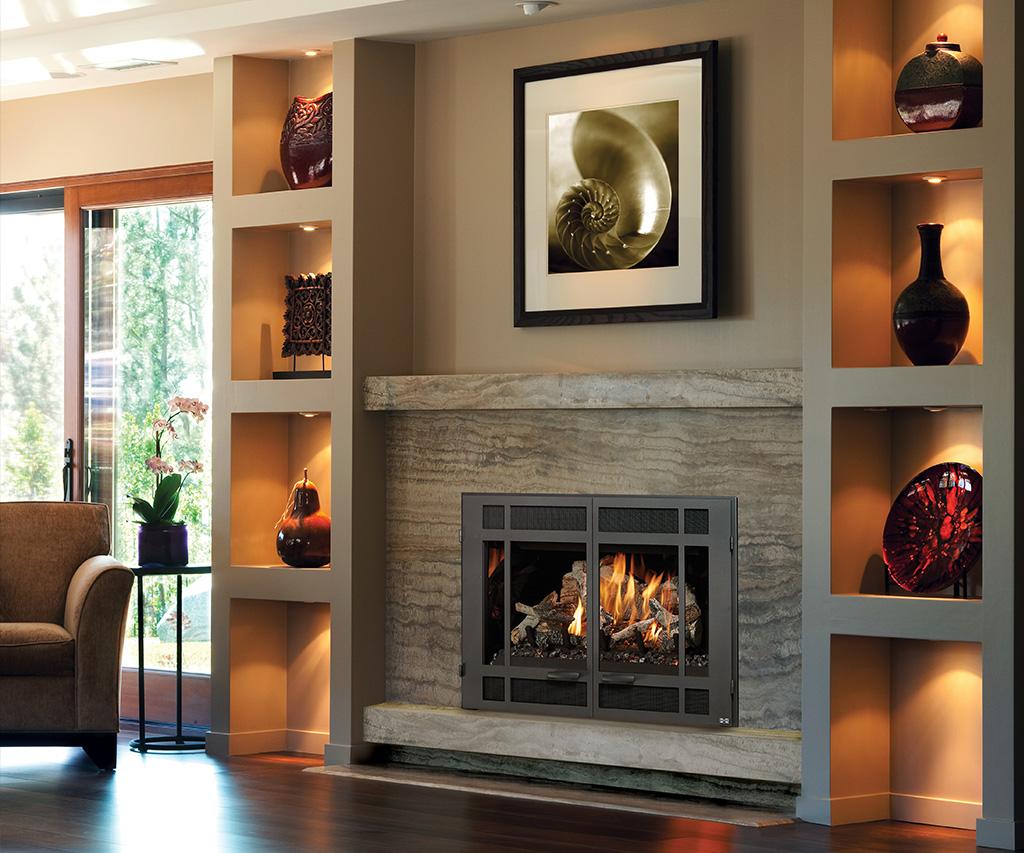 Transitional fireplace design