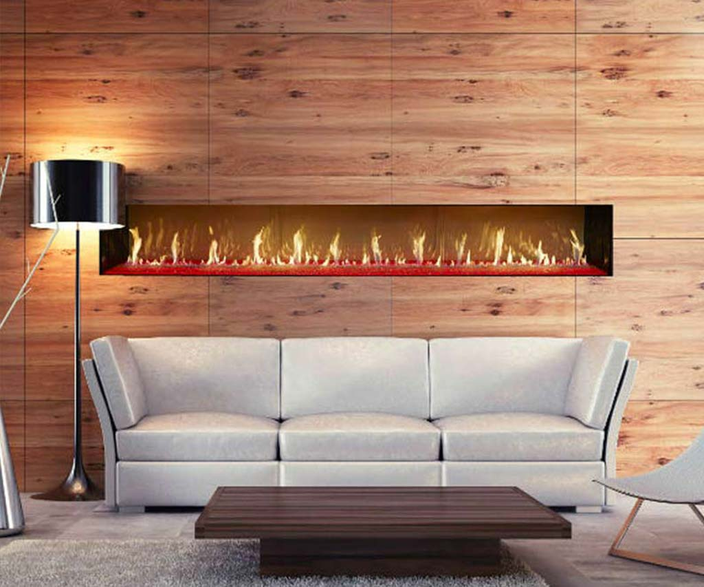 Natural gas linear fireplace